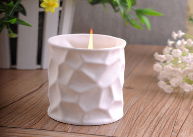 Matte White Tealight Ceramic Candle Holder / Safe Candle Containers 290ml