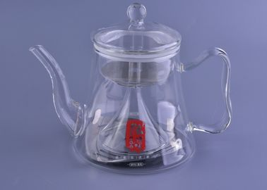 Heat Resistant Clear Glass Teapot Funnel Shape Infuser Induction Cooker Safe