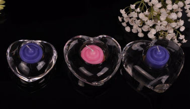 High White Transparent Tealight Glass Candle Holders For Wedding Centerpieces , Heart Shape