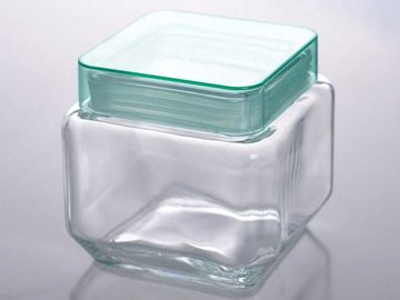 Square Clear Glass Tableware Storage Jar Food Container With Lid