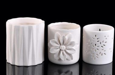 Embossed Ceramic Pillar Candle Holders , Votive Candle Jars For Candle Making