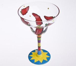 Colored Hand Painted Martini Glasses 480ml , Hand Painted Wedding Wine Glasses